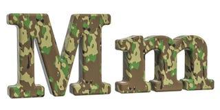 Kamuflażu wojska list M, 3D rendering Zdjęcia Stock