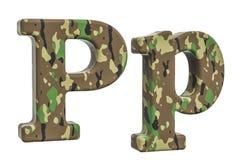 Kamuflażu wojska list P, 3D rendering Zdjęcia Stock