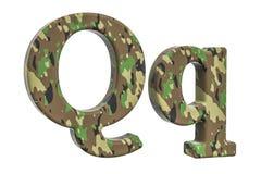 Kamuflażu wojska list Q, 3D rendering Zdjęcie Royalty Free