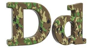 Kamuflażu wojska listu d, 3D rendering Obraz Stock