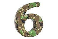 Kamuflażu wojsko liczba 6, 3D rendering Fotografia Stock