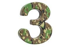 Kamuflażu wojsko liczba 3, 3D rendering Zdjęcie Royalty Free
