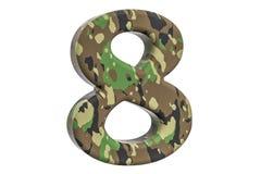 Kamuflażu wojsko liczba 8, 3D rendering Zdjęcia Stock