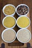 Kamut, μίγμα ρυζιού, λεπτό Bulgur, κεχρί, αμάραντος, Quinoa (από τα αριστερά προς τα δεξιά, από πάνω προς τα κάτω) Στοκ Εικόνες
