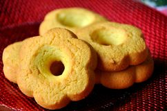 Kamut cookies. Made without sugar on a red plate Stock Photography