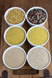 Kamut, Rice Mix, Fine Bulgur, Millet, Amaranth, Quinoa (from left to right, from top to bottom) Stock Images