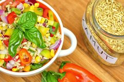 Kamut salad with fresh, raw vegetables Royalty Free Stock Photo