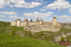 Kamyanets-Podilsks fortress among the green hills Royalty Free Stock Photo