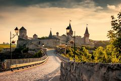 Kamyanets-Podilsky Ukraine. Summer 2015. Thunderstorm clouds ove Royalty Free Stock Images