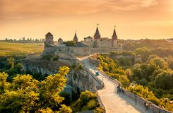 Kamyanets-Podilsky Ukraine. Summer 2015. View of the castle in Royalty Free Stock Images