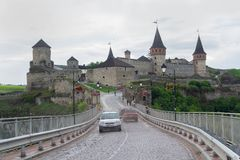Kamyanets-Podolsky, Ukraine - 29. Juni 2018: Schloss in Kamyanets-Podolsky Lizenzfreie Stockfotos