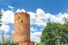 Kamyenyets塔或白色塔在白俄罗斯从中古生存了 免版税库存图片