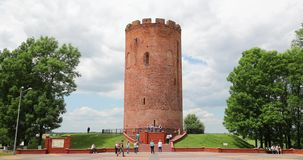 Kamyenyets,布列斯特州,白俄罗斯 走在Kamyenyets附近塔的人们在夏日 股票视频