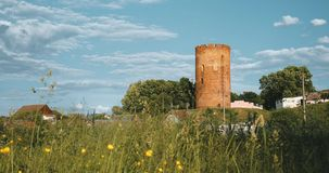 Kamyenyets,布列斯特州,白俄罗斯 Kamyenyets塔在与绿草的晴朗的夏日在前景 影视素材
