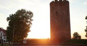 Kamyenyets, Kamyenyets布列斯特州,白俄罗斯塔在日落或日出时间的 影视素材