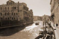 Kanäle von Venedig, Fotografie in der Weinleseart Lizenzfreie Stockfotografie