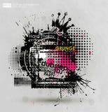 Kan als prentbriefkaar worden gebruikt Vector illustratie Grungeachtergrond met een kleurrijk effect van de regenbooginkt splat G Royalty-vrije Stock Afbeelding