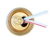 kan att dricka öppna sodavattensugrör Royaltyfria Foton