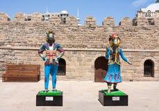 19 kan 2017 Baku, Azerbajdzjan Spelar islamisk solidaritet för amulettdropp - Karabakh kapplöpningshästar Injen och Dzhasuren Fotografering för Bildbyråer