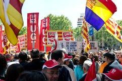 kan den barcelona dagdemonstrationen 2012 spain Arkivbilder