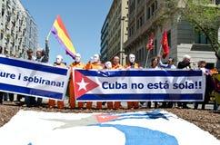 kan den barcelona dagdemonstrationen 2012 spain Fotografering för Bildbyråer