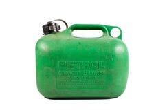 kan grön isolerad gammal petrol för bensin som gott används Arkivfoton