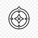 Kan het vector lineaire die pictogram van het azimutkompas op transparante achtergrond, de transparantieconcept wordt geïsoleerd  royalty-vrije illustratie