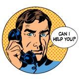 Kan jag hjälper dig att man telefonfrågeonline-service stock illustrationer