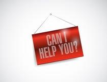 Kan jag hjälper dig den hängande banerillustrationen Royaltyfria Foton