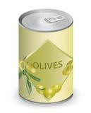 Kan met olijven. Vector Illustratie