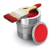 Kan met rood schilderen en penseel Stock Fotografie