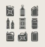 kan metallisk plast- för symbolen ställa in Royaltyfria Bilder