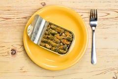 kan musslor öppnad rökt tin Arkivbild