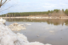 Kan River after an ice drift. Royalty Free Stock Image