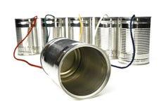 kan telephone tin Arkivfoton