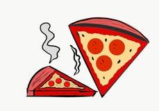 Kan vad vara röd? Lummy, varm, ostliknande, smaklig och stinkande pizza för din hunger stock illustrationer