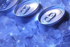 Kan van bier in ijs Stock Foto's