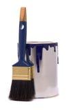 Kan van blauw schilderen Stock Afbeeldingen