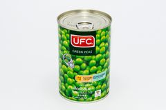 Kan van de groene erwten van UFC Stock Foto's