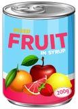 Kan van gemengd fruit in stroop royalty-vrije illustratie