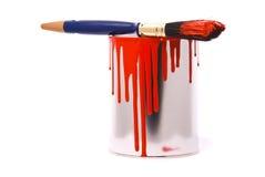 Kan van rood schilderen Stock Fotografie