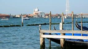 Kanał Grande, cumować gondole i bazyliki Di Santa Maria della salut, zbiory wideo