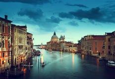 Kanał Grande i bazyliki Santa Maria della Salutuje, Wenecja, Włochy Zdjęcia Stock