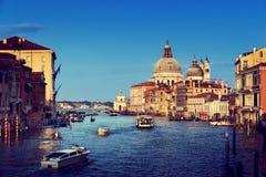Kanał Grande i bazyliki Santa Maria della Salutuje, Wenecja, Włochy Fotografia Royalty Free