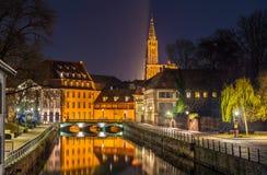 Kanał w Małym Francja terenie - Strasburg, Francja Fotografia Royalty Free
