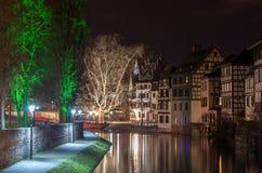 Kanał w Małym Francja terenie, Strasburg Alsace, Francja, - obraz stock
