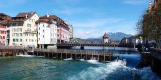 Kanał w mieście lucerna, Szwajcaria Obraz Stock