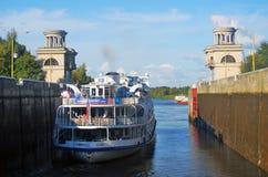 Kanał wymieniający po Moskwa w Rosja Kędziorek bramy są otwarte Zdjęcie Royalty Free