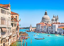 Kanałowy Grande i Bazylika Di Santa Maria della salut, Wenecja, Włochy Obrazy Royalty Free