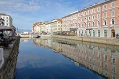 Kanałowy Grande Trieste Zdjęcia Royalty Free